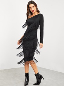 One Shoulder Layered Fringe Pencil Dress