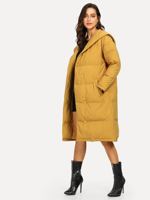 7b3b6c0f02 Button Up Hooded Puffer Coat | SHEIN