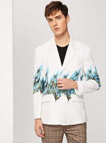 Men Single Breasted Leaf Print Blazer