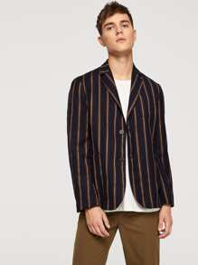 Men Single Breasted Vertical Striped Blazer