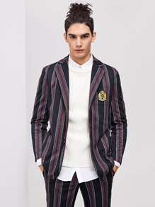 Men single Breasted Patched Detail Striped Blazer