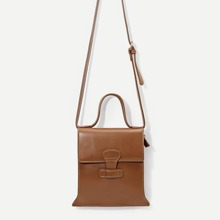 SHEIN | Flap PU Satchel Bag With Strap | Goxip
