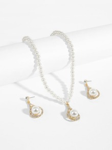 Faux Pearl Pendant Necklace & Earrings
