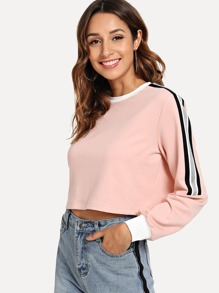 Striped Trim Crop Pullover
