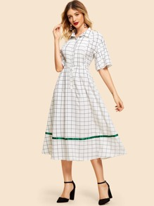 Button Up with Pleated Detail Grid Dress