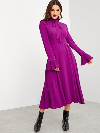 Tie Neck Flowy Midi Dress