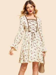 Zip Back Lace Up Front Floral Print Dress