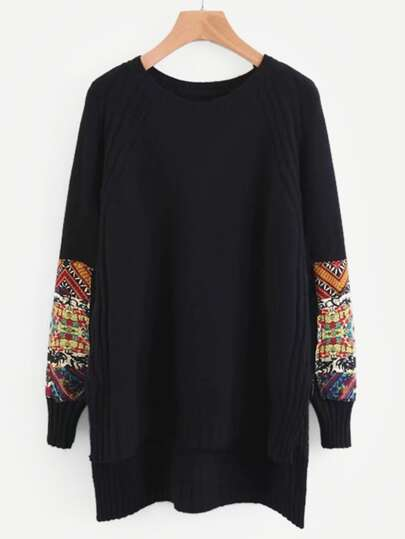 Contrast Sleeve Longline Sweater