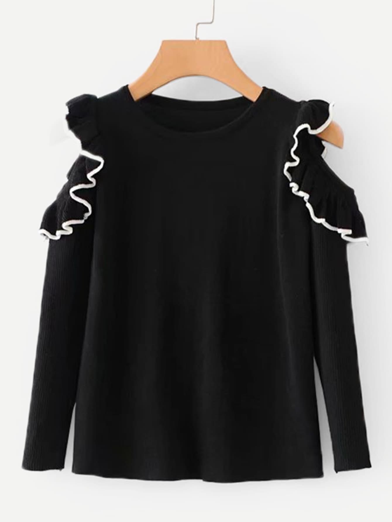 Contrast Trim Ruffle Knitwear