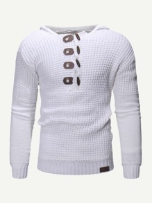 Men Horns Buckle Solid Sweater