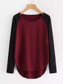 Contrast Raglan Sleeve High Low Curved Hem Tee