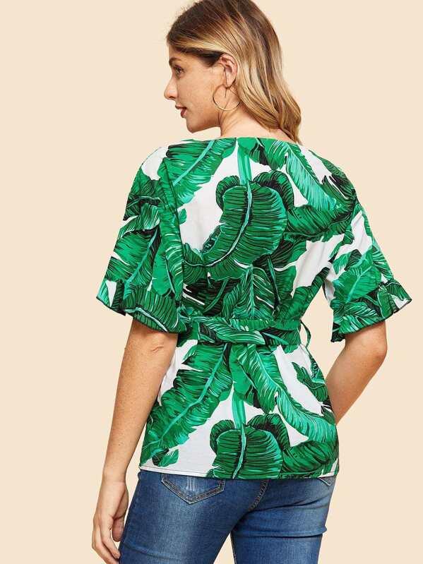 ece7dac1e8bf6 Cheap Drop Shoulder Jungle Leaf Print Top for sale Australia