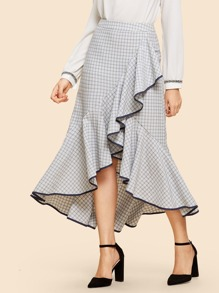 Ruffle Detail Plaid Skirt
