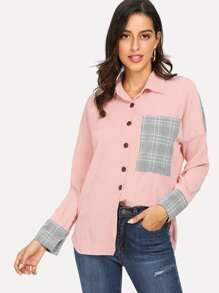 Contrast Pocket Corduroy Blouse