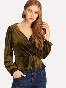 Surplice Front Solid Blouse