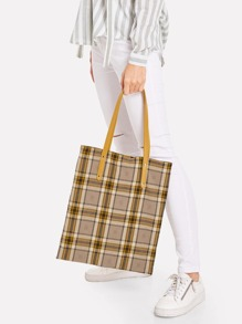 Plaid Tote Bag With PU Handle