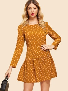 Button Seam Polka Dot Dress