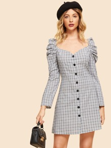 Puff Sleeve Plaid Dress