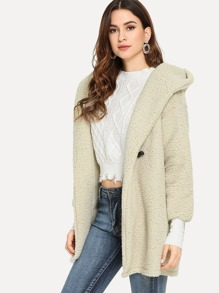 Duffle Hooded Solid Shearling Teddy Coat