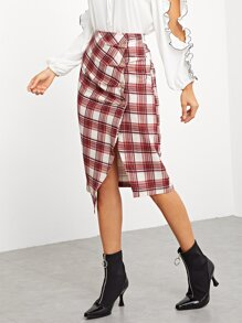 Asymmetrical Hem Plaid Skirt