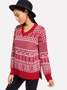 Christmas Print V Neck Jumper