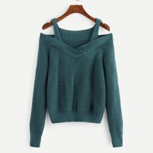 Green Casual Long Sleeve Plain Cold Shoulder Fabric has some stretch Spring Sweaters, size features are:Length: Regular,Sleeve Length : Long Sleeve,