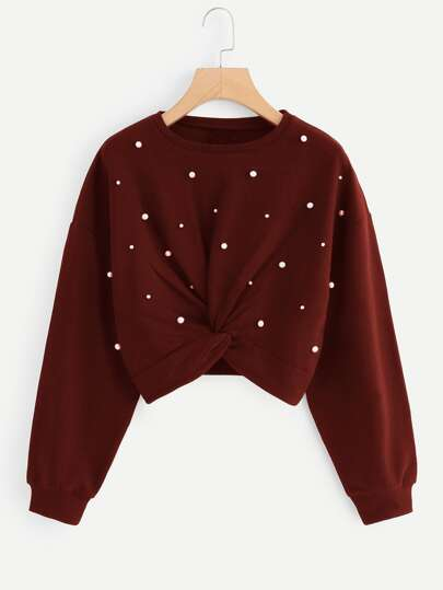 Twist Detail Beaded Decoration Sweatshirt