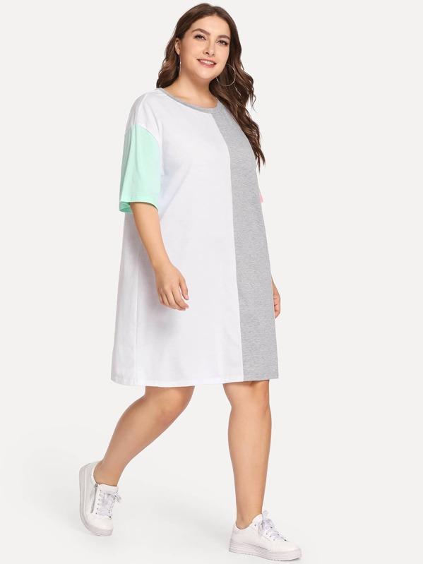 34a4eae75e54 Vestito maglietta a blocchi di colore taglie forti