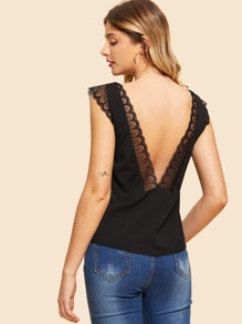 V Neck Back Lace Hem Vest