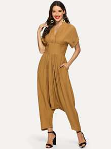 Roll Up Sleeve Wide Waistband Harem Jumpsuit