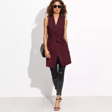 Burgundy Elegant Sleeveless Plain Vest Fabric has some stretch Spring Outerwear, size features are:Length: Short,Sleeve Length : Sleeveless,
