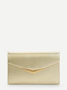 Metal Detail Flap Clutch