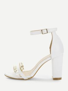 Faux Pearl Two Part Block Heeled Sandals
