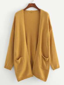 Plus Pocket Front Solid Sweater