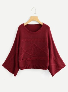 Plus Cable Knit Solid Sweater