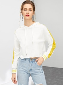 Striped Cuff Contrast Panel Crop Hoodie