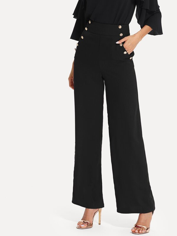 Women's Nautical High Waist Gold Button Detailing Wide Leg Pants by SheIn - DeluxeAdultCostumes.com