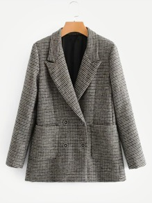 Pocket Front Elbow Patch Houndstooth Blazer