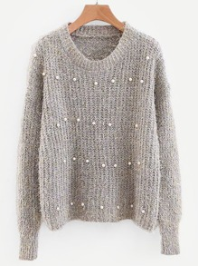 Beaded Detail Drop Shoulder Sweater