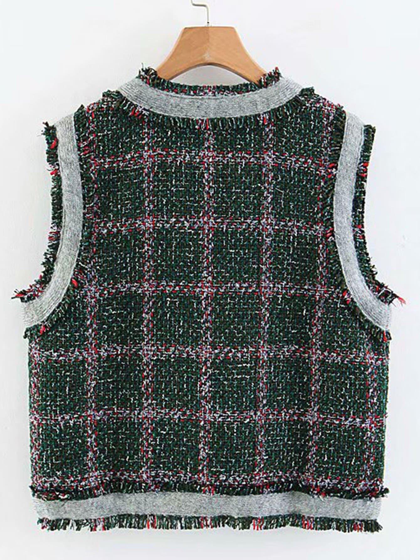 5afcea804c Contrast Trim Plaid Tweed Vest
