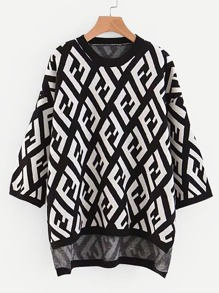 Letter Pattern High Low Jumper