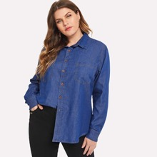 SHEIN | Plus Pocket Patched Button Denim Shirt | Goxip