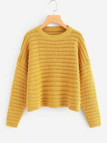 Plus Drop Shoulder Round Neck Sweater