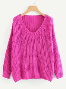 Neon Pink Plus Solid V Neck Sweater