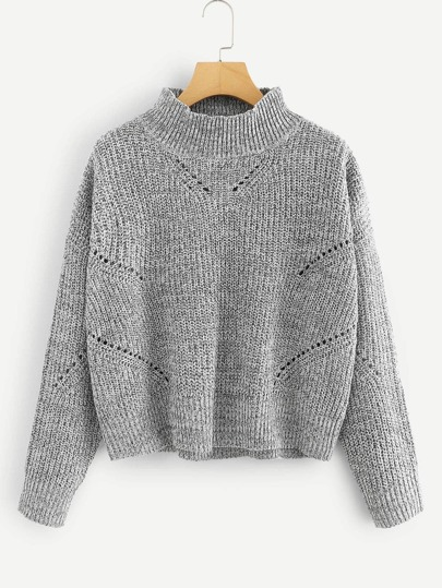 Plus Eyelet Detail Marled Sweater