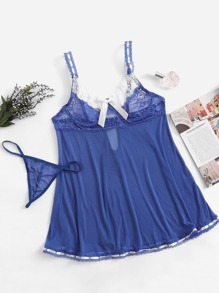 Contrast Lace Slips Set