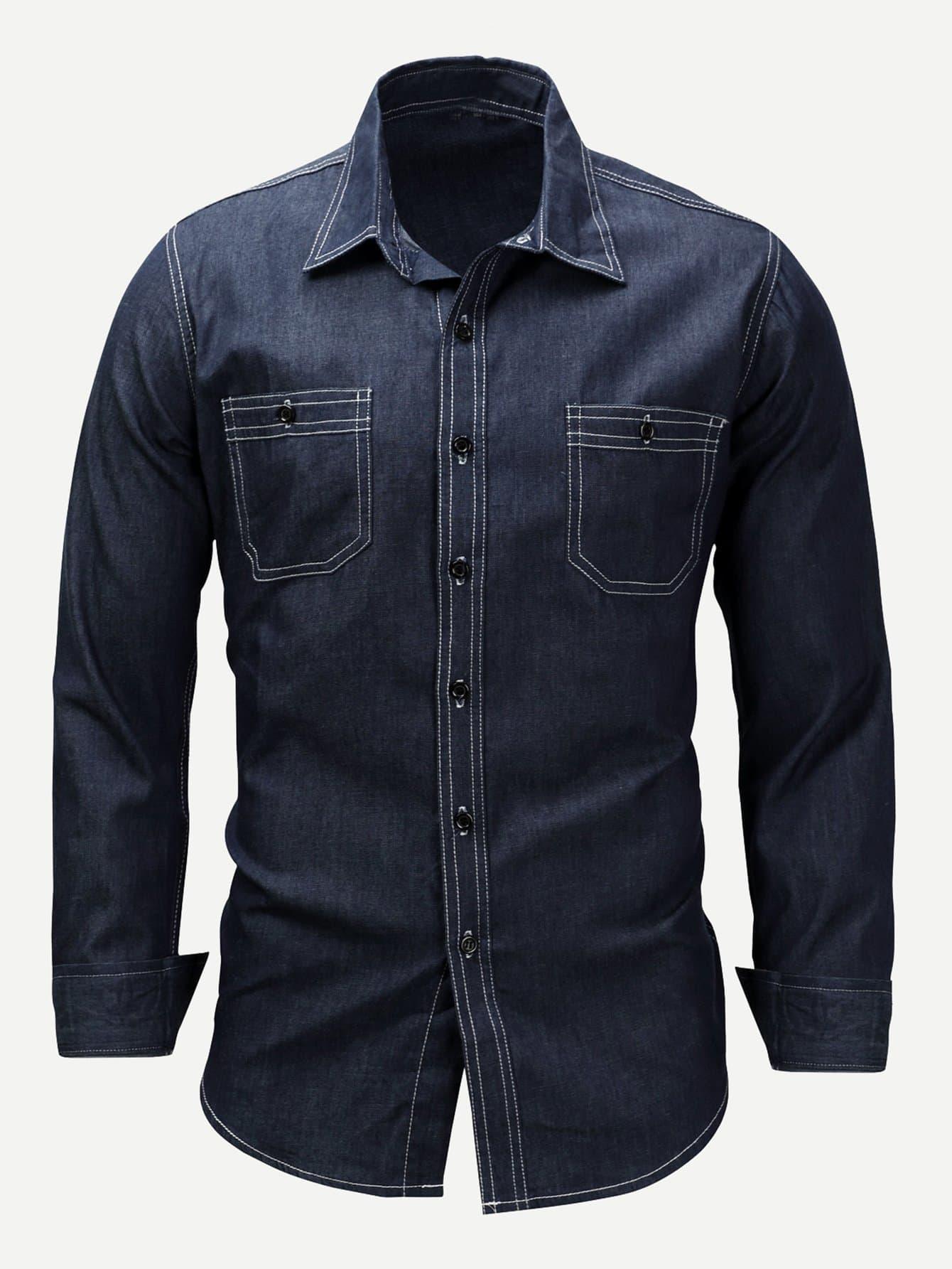 Men Pocket Front Denim Shirt Men Pocket Front Denim Shirt