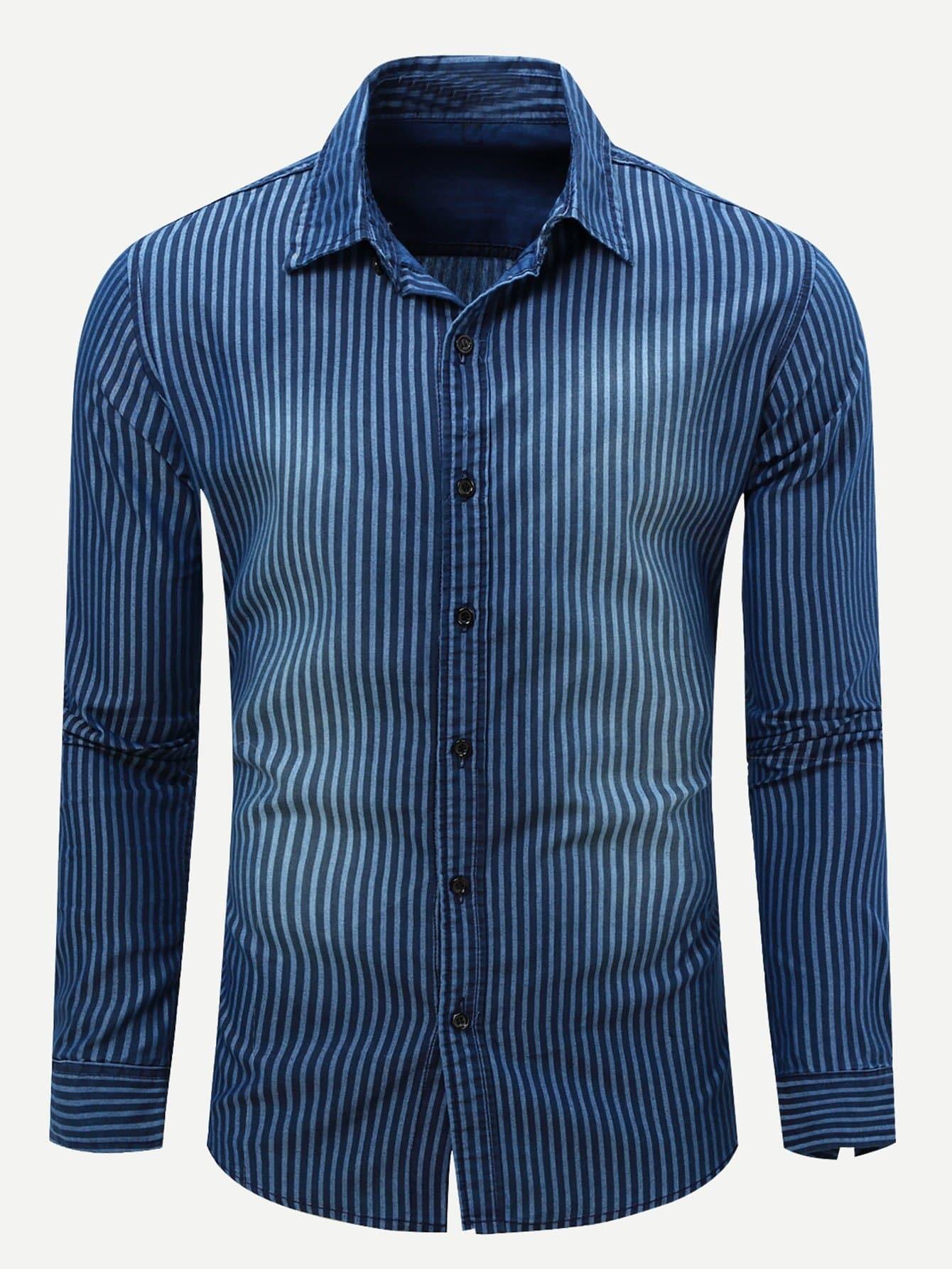Men Vertical-Striped Long Sleeve Denim Shirt Men Vertical-Striped Long Sleeve Denim Shirt