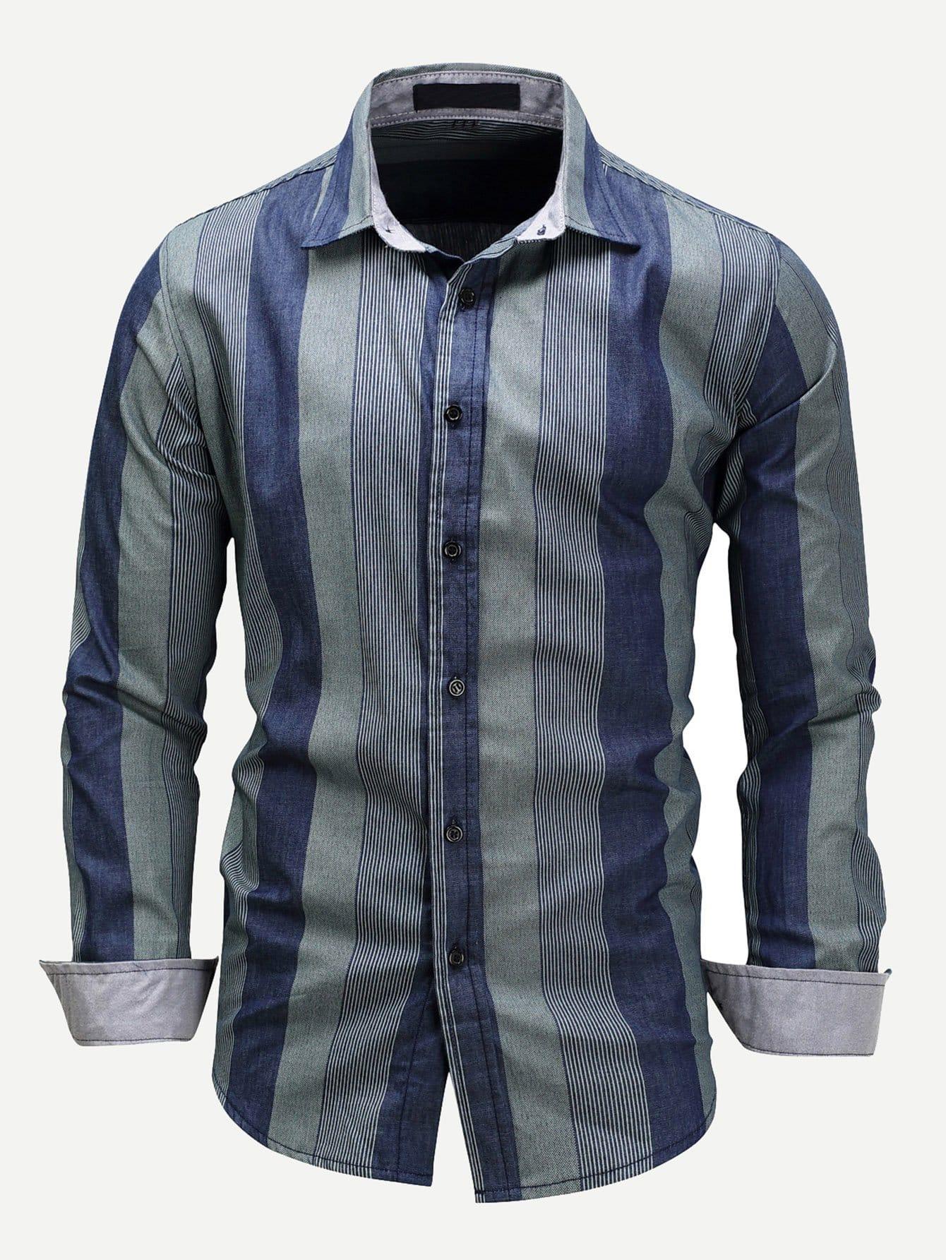 Men Vertical-Striped Collar Denim Shirt Men Vertical-Striped Collar Denim Shirt