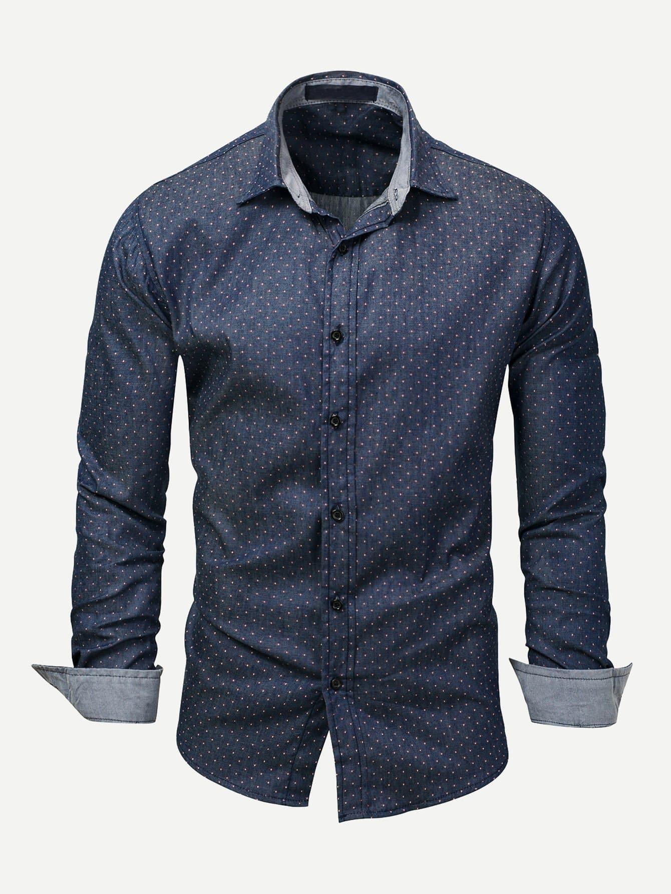Men Polka Dot Collar Denim Shirt Men Polka Dot Collar Denim Shirt